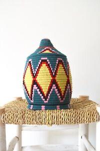 Berber Basket Handwoven Vintage Moroccan Wool lidded Basket