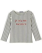 Petit Bateau Blue Red Stripe Boxy Crop Breton Cotton Slogan Top French L 12-14