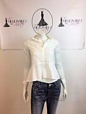 THE KOOPLES 12417 WHITE SHEER LONG SLEEVES PEPLUM HI LOW BLOUSE  SZ XS