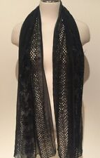 Black Silk Chiffon and Lace Floral and Eyelet Scarf/Shawl 50cm x 164cm