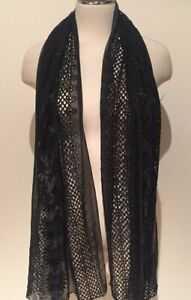 Black Silk Chiffon and Lace Floral and Eyelet Scarf/Shawl 50cm x 164cm