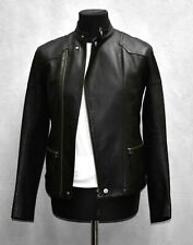 I0 HELMUT LANG Black Pebbled Leather Asymmetric Zip Rider Jacket Size XS $1520