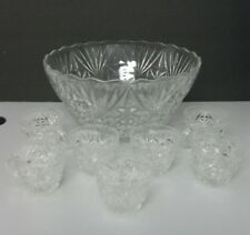 Vintage Anchor Hocking Arlington Punch Bowl Set 8 Piece Clear Glass Pineapple