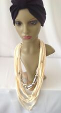 Chic Stretch Soft Touch SCARF Necklace Ivory Silver