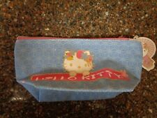 "Hello Sanrio Kitty Pencil Case 8 3/4"" x 4 1/2"" Cloth Pouch Make Up Bag NWT"