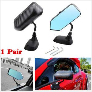 2PCS Universal Car Carbon Fiber Look Blue Mirror F1 Style Side Rear View Mirrors