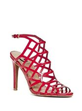 $70 G By Guess Women's Beer it Honeycomb High Heels In Red Faux Leather Size 6.5