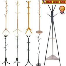 Coat Rack Hat Stand Tree Clothes Hanger Umbrella Holder Entryway Metal Organizer