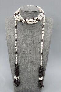 """Freshwater Pearl & Rhodolite Garnet 55"""" Wrap Around Tasseled Necklace"""
