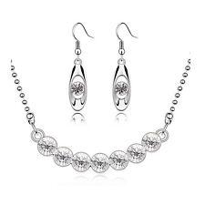 Diamant Silber Weiss Kristall Brautschmuck Satz Ohrhänger Halskette S438