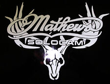 "Mathews european mount white decal 70757 die cut 11"" x 7"""