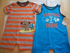 CARTER'S 2 CREEPERS BABY BOYS OUTFIT SURF DOG SO CUTE!!