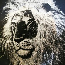 VINTAGE Lion Face Animal Print Stencil Art Black Silver Glitter Glass Wood Frame