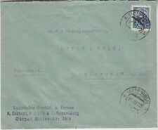 Estonia letter to Germany 1922 with cutted 10 M blacksmith stamp