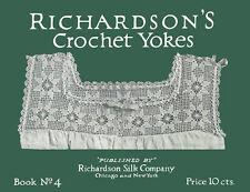 Richardson's #4 c.1916 Gorgeous Patterns in Crochet Vintage Lingerie Lace Yokes