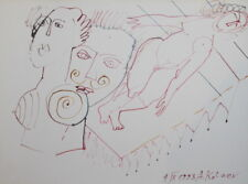 1993 ABSTRACT SURREALIST WATERCOLOR PAINTING NUDE PORTRAIT SIGNED