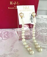 "Kenneth Jay Lane Long Glass Pearl 5"" Shoulder Duster Earrings ~ White & Gold NWT"