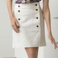 Tory Burch Carlin Mini Skirt Tweed Style Ivory Size 0 Burch Logo Button Details