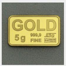 Goldbarren 5g 999,9 Feinheit Fine