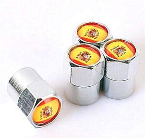 Spanish Flag x4 Dust Caps Chrome Valve Covers Fits Ibiza Cupra Leon Altea Espana