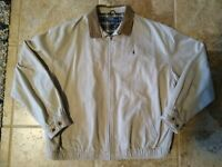 Vintage Polo Ralph Lauren Harrington Jacket Plaid Lined Tan Mens Size XXL 2XL