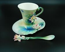 Franz FZ 02284 Peaceful Lotus Cup, Saucer, Spoon, Mint, from closed gift shop