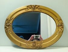 Antique Vintage Wall Mirror Ornate Oval  Wood Frame Gold Gesso