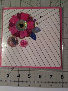 Hallmark Signature Any Occasion Greeting Card/Envelope; Pink Jeweled Flower