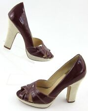Cole Haan Nike Air Peep Toe Platform High Heels Patent Wine Sz 8.5B