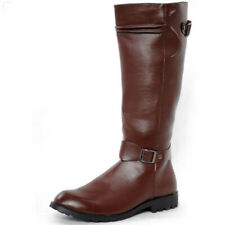 Mens Zipper Riding Military PU Leather Shoes Knee High Equestrian Boots Large Sz