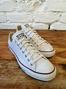 Converse All Star Mens White Leather Size UK 9 Perfect Summer Look RRP £65.00