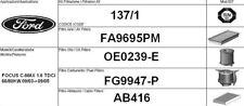 137/1 KIT FILTRI TAGLIANDO FORD FOCUS C-MAX 1.6 TDCI KW 80 CV 109 FINO AL 9/2005
