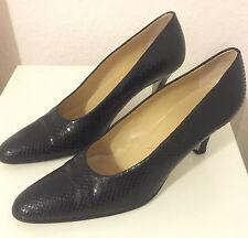 Walter Steiger Schuhe Pumps Leder Schlangenprint Schwarz handmade in Italy 38,5