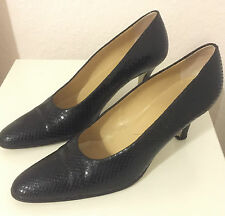 WALTER STEIGER chaussures escarpins cuir schlangenprint noir Handmade in Italy 38,5