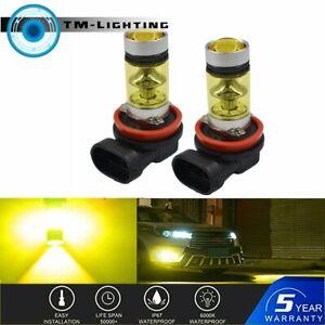 2Pcs 100W H11 H8 H9 3000K Yellow High Power LED Fog Lights Driving Bulb DRL