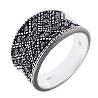 Damen Pavé-Ring echt Silber 925 rhodiniert geschwärzt mit Markasit Silberring