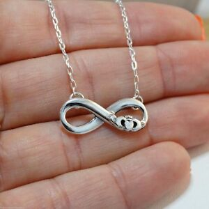Irish Claddagh Infinity Necklace 925 Sterling Silver Love Friendship Gift Heart