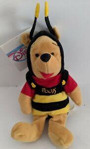 """Disney Store Mini Bean Bag Winnie The Pooh As Bumble Bee 8"""" Beanie Plush NEW"""