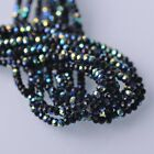 200pcs 4x3mm Rondelle Faceted Crystal Glass Loose Beads Black Half AB