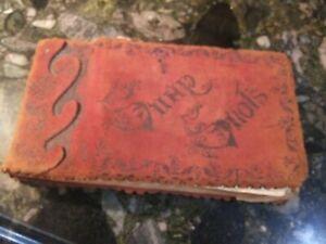 Antique Catholic Christian Switzerland Europe POST CARD Leather Scrap Book LOT