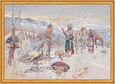 The Wolfers Camp Charles M. Russell Indianer Winter Zeltlager Beute B A2 01113