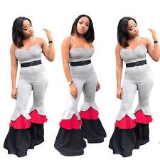 Women Spaghetti Strap Clubwear Colors Patchwork Ruffled Bell-bottom Jumpsuits