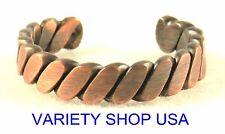 Antiqued Copper Ring Twisty Ridge Adjustable Band 3028-E