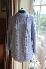 New size 18-20 chest 44in hand knitted cable crew neck jumper Blue length 28in