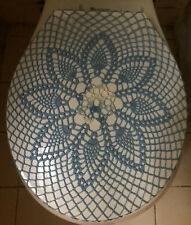 Handmade Crochet Toilet Lid/Seat Cover Blue Multicolor #5