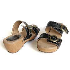 L'Artiste Spring Step Mittie Sandals Black Leather Wedge Size 8.5 EUR 39