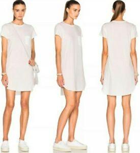 Helmut Lang White Cotton Cashmere Long Pocket Tshirt Dress S