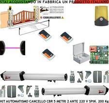 CANCELLO AUTOMATICO 5 MT 2 ANTE KIT AUTOMATISMO 220 V. CED 2 RADIOCOM FOTOC FARO
