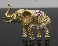 9ct Yellow Gold Elephant Brooch W / Sapphires, Diamonds & Rubys 38x24mm