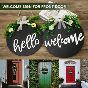 Wooden Wall Hanging Round Welcome Sign Hello Door Sign Porch Decoratio Hanging